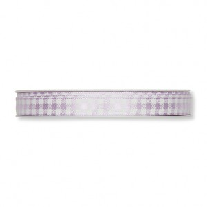 12 155 41 - Efco Deco Ribbon Satin Checked - Lilac, 100% Polyester, 10mm