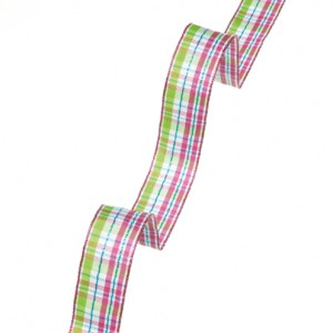 12 715 35 - Efco Wired Ribbon Checked - Bright Pink, 93% Acetate, 6% Iron, 1% Polyester, 25mm